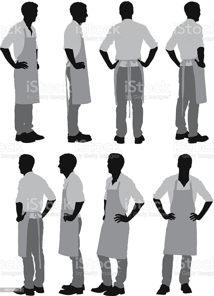 Man standing in apron vector art illustration