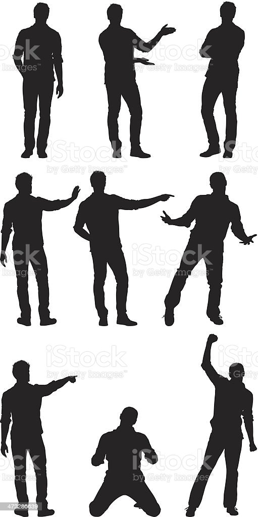 Man standing in different poses vector art illustration
