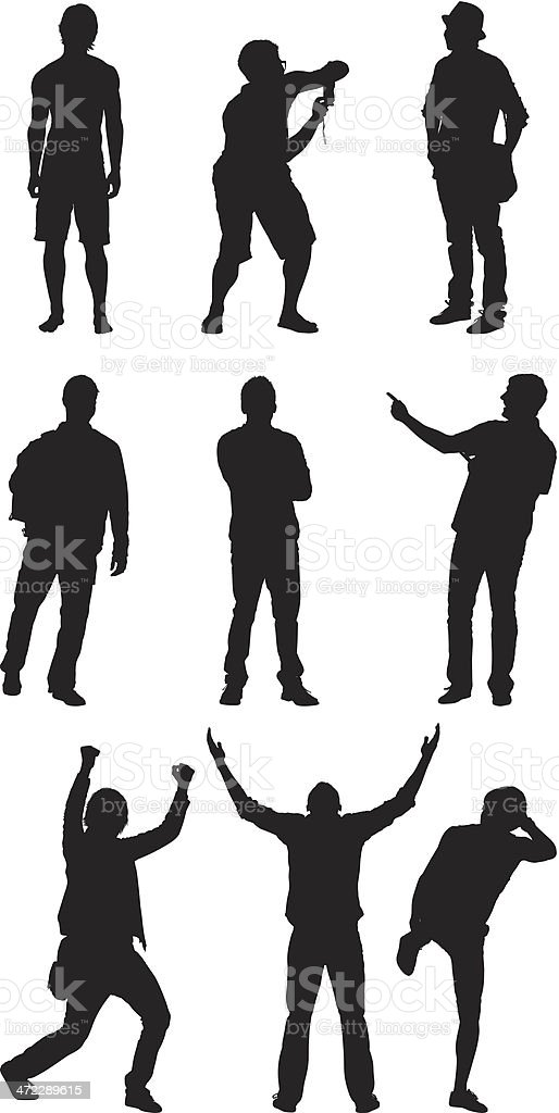 Man standing in different poses royalty-free stock vector art