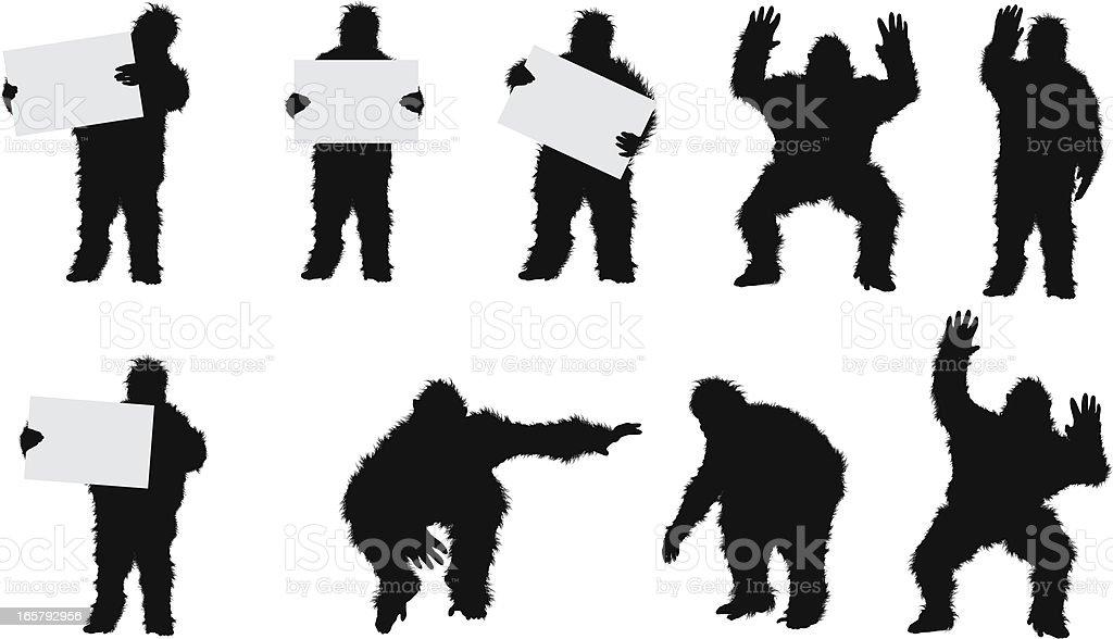 Man standing in gorilla costume vector art illustration