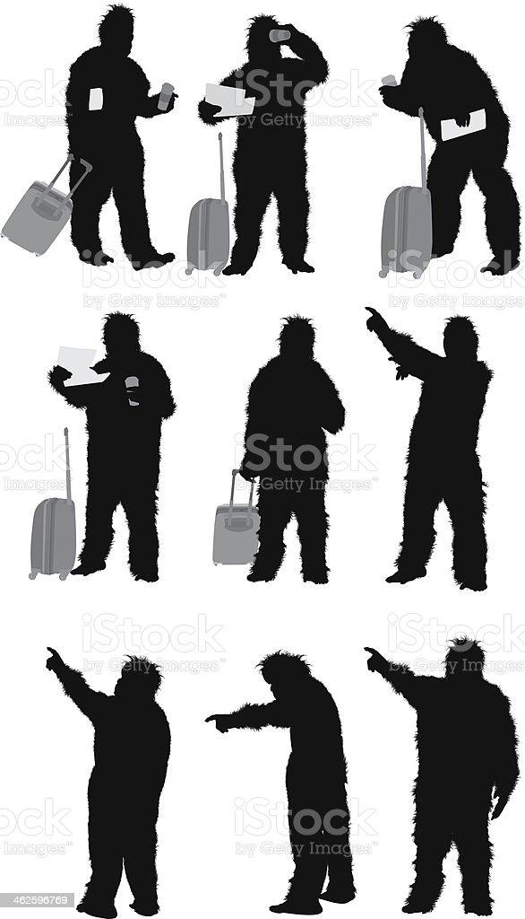 Man standing in gorilla costume royalty-free stock vector art