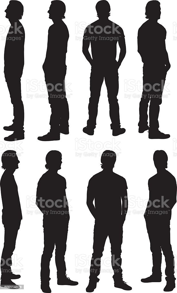 Man standing in various views vector art illustration