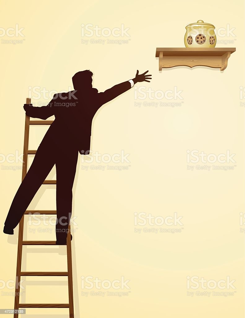 A man standing on a ladder trying to reach a cookie jar vector art illustration