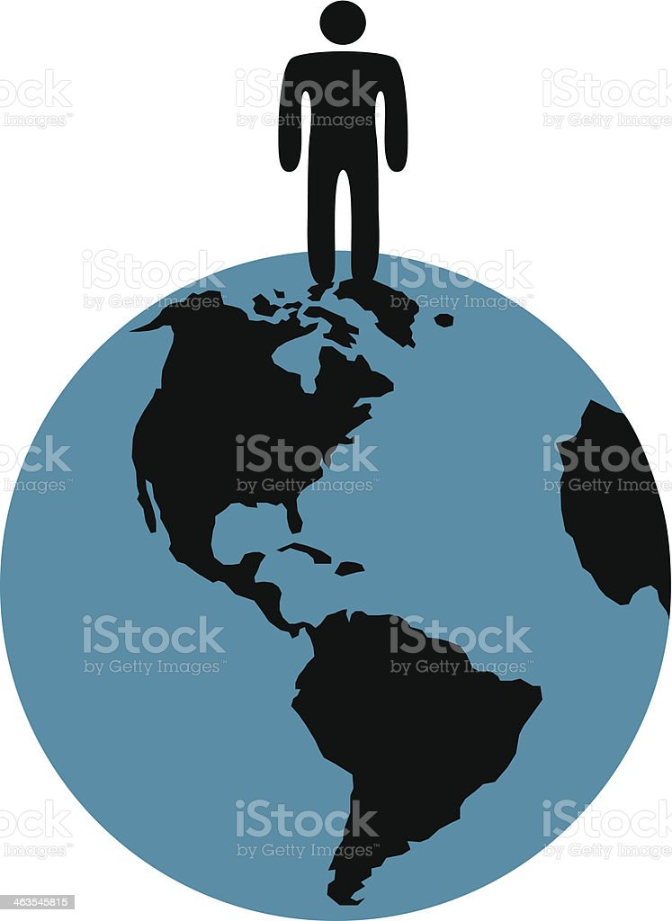 man standing on the Earth vector art illustration
