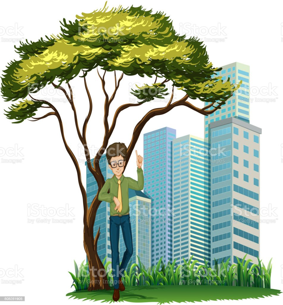 Man standing under the tree across the offices royalty-free stock vector art