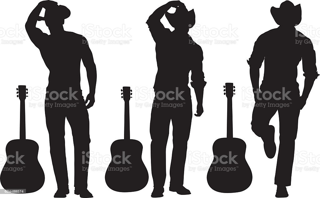 Man standing with guitar vector art illustration