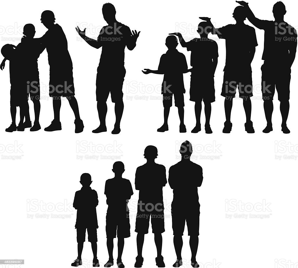 Man standing with his children vector art illustration