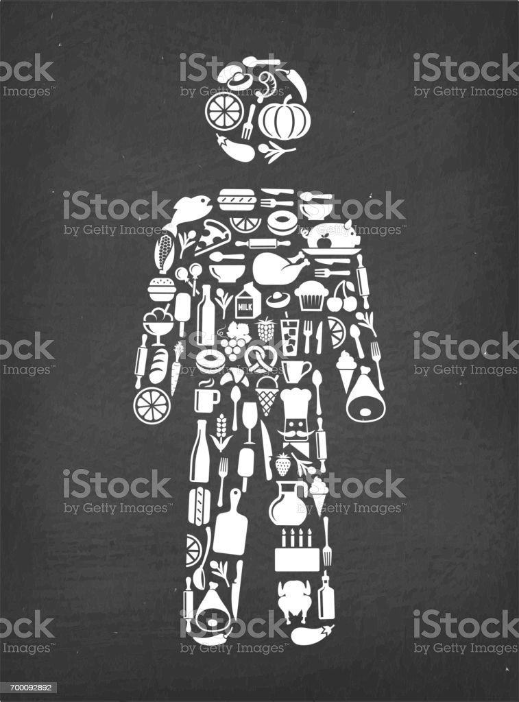 Man stick Figure Food & Drink royalty free vector pattern. This image...