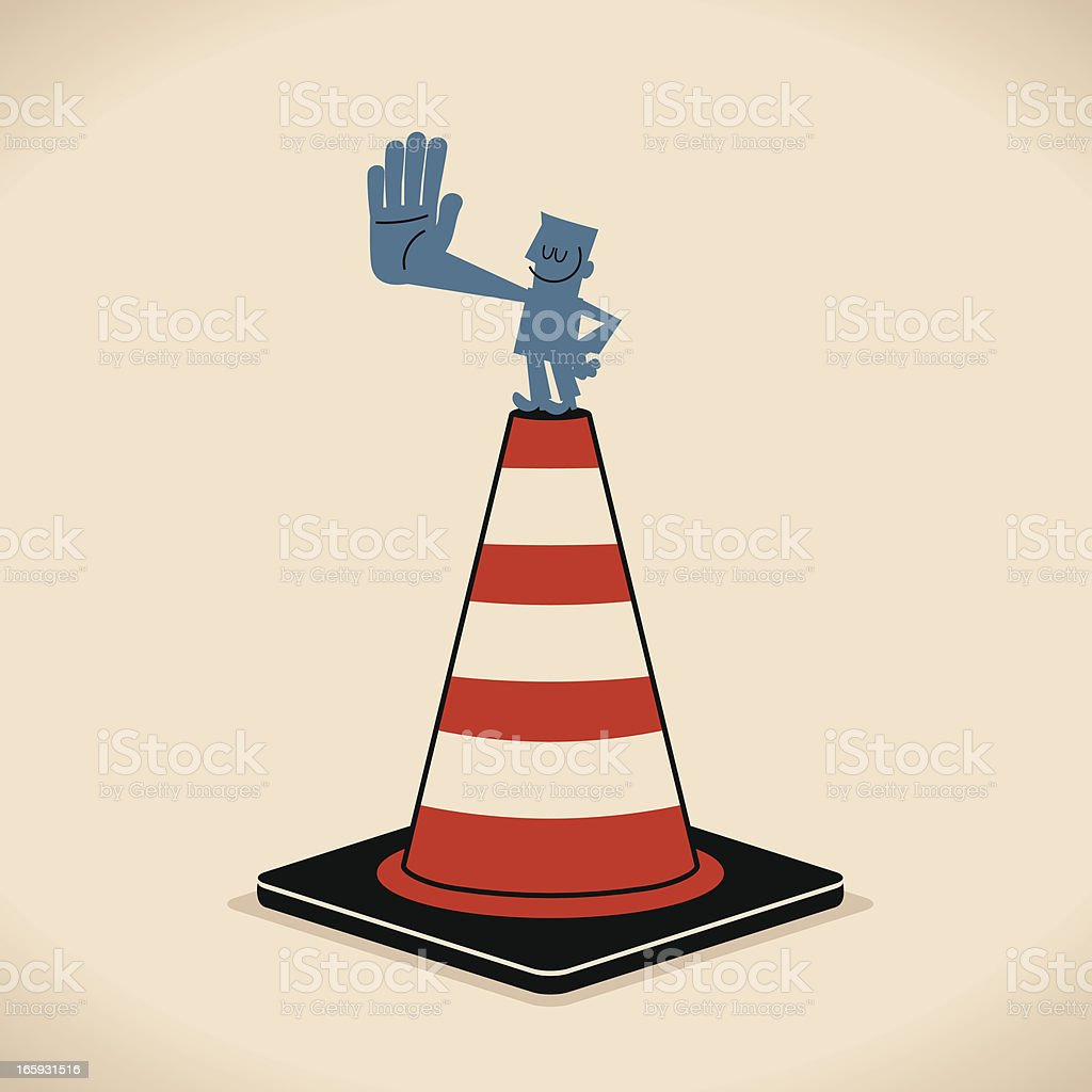 Man Stop Sign with Traffic Cone vector art illustration
