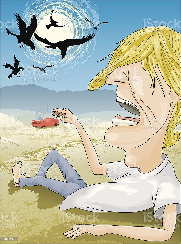 Man stranded in desert vector art illustration