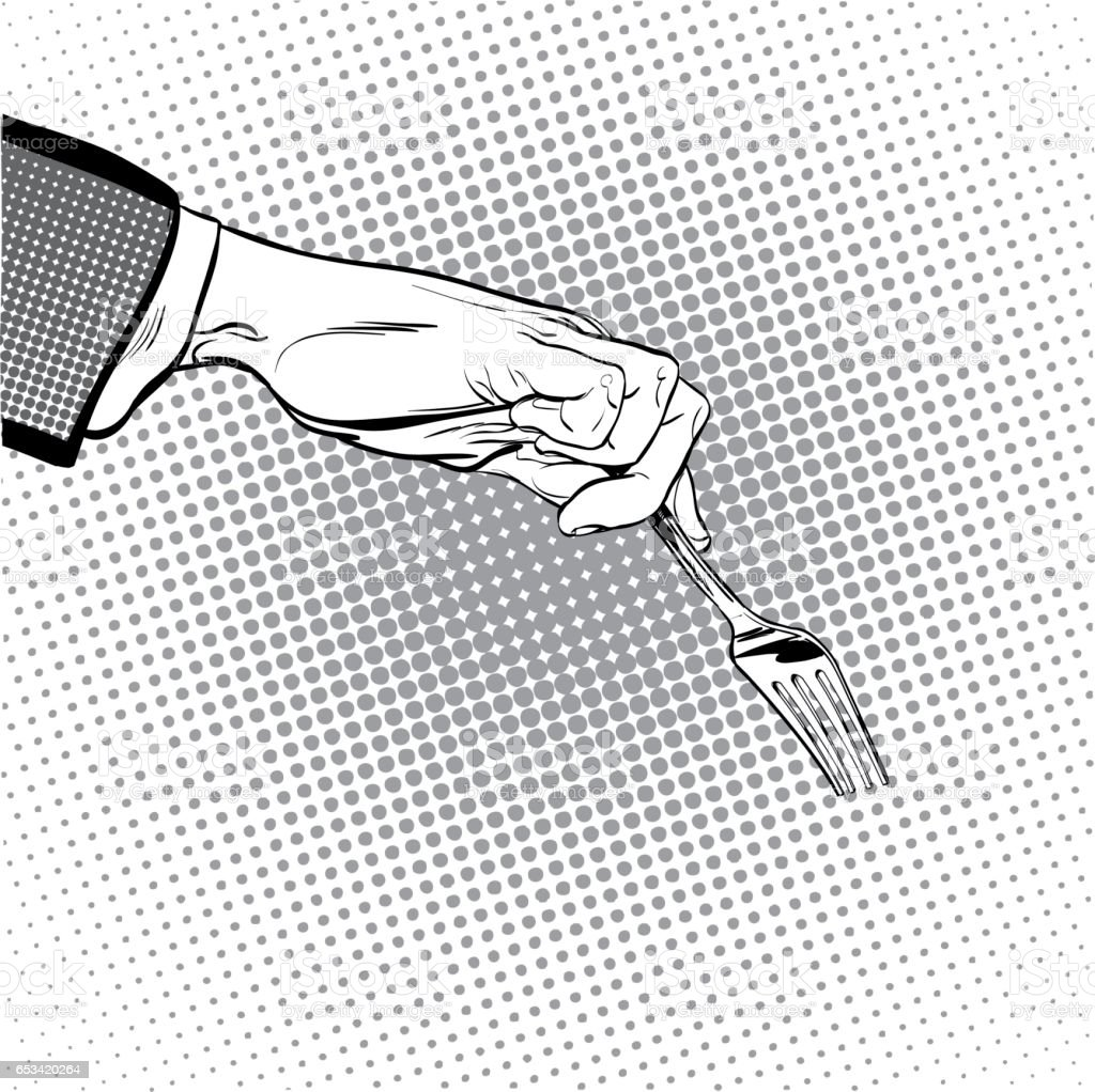 Man stretches out his hand to take something with a fork. Man asking. Man's hand. Reaching out something. Requiring something. Pop art illustration. Halftone background vector art illustration