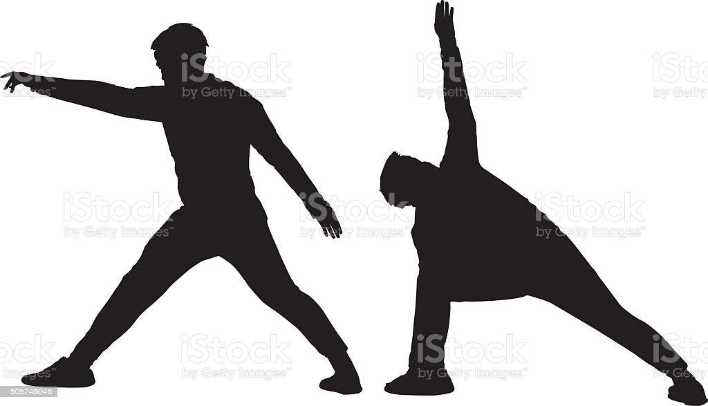 Man Stretching Silhouette vector art illustration