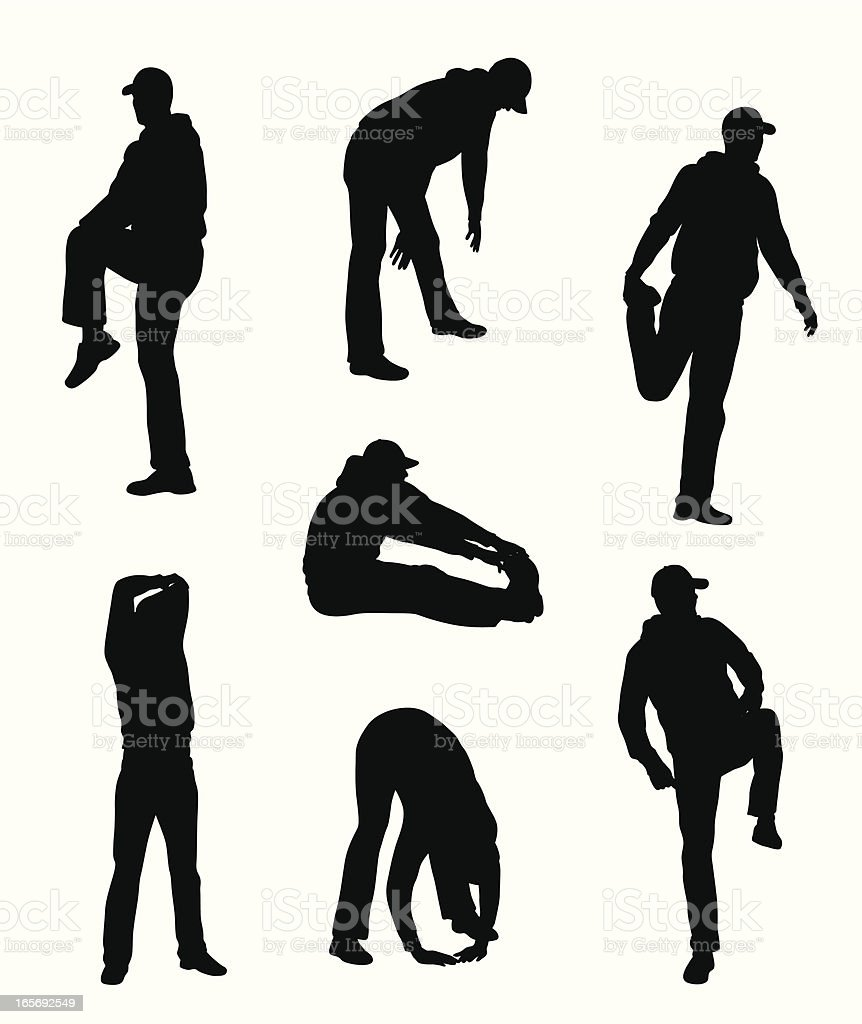 Man Stretching Vector Silhouette royalty-free stock vector art