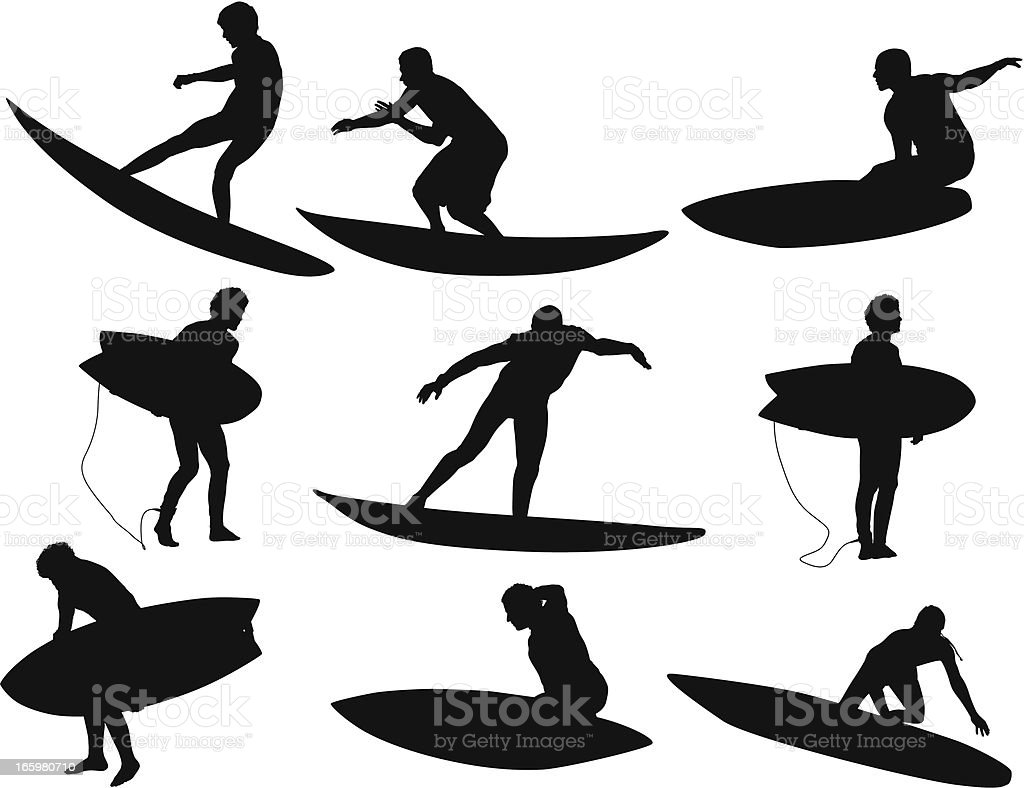Man surfing on a surfboard royalty-free stock vector art