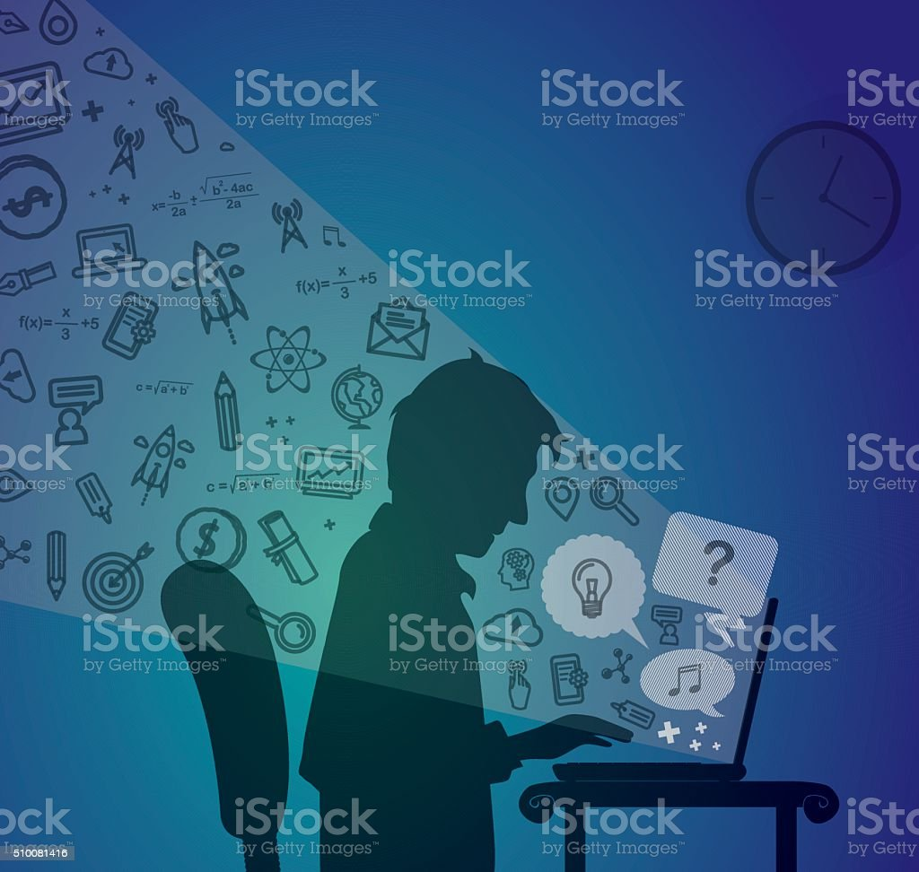 Man surfing on the net with computer icons vector art illustration