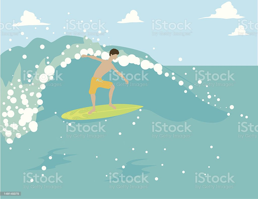 Man Surfing royalty-free stock vector art