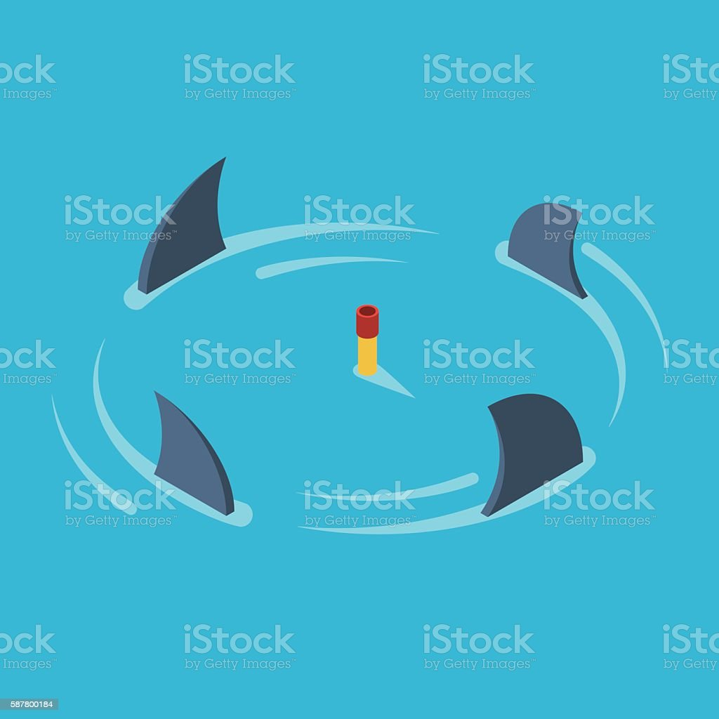 Man surrounded by sharks vector art illustration