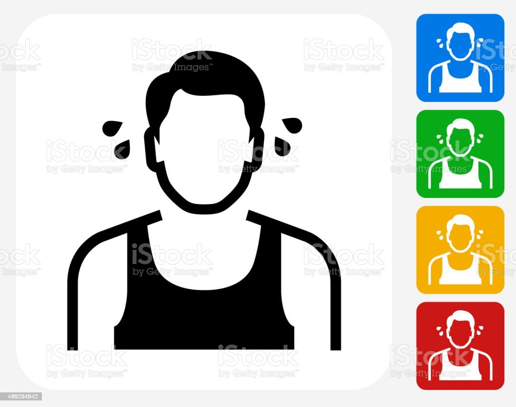 Man Sweating Icon Flat Graphic Design vector art illustration