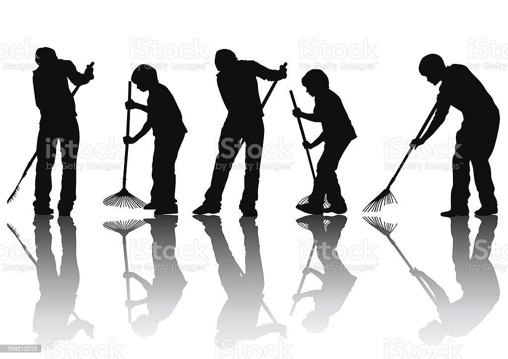 Man sweeping leaves vector art illustration
