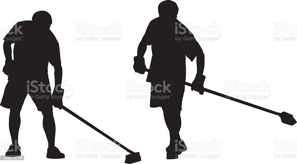 Man Sweeping Silhouettes vector art illustration