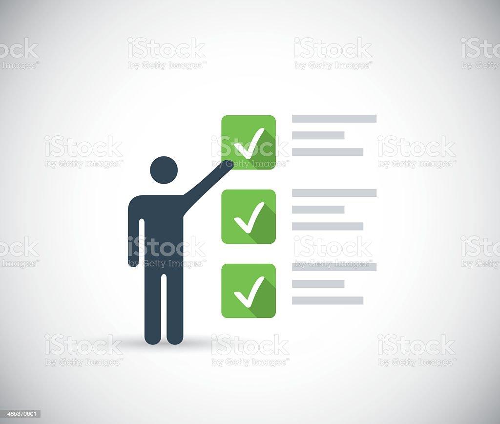 Man taking internet survey for money or other concept vector art illustration