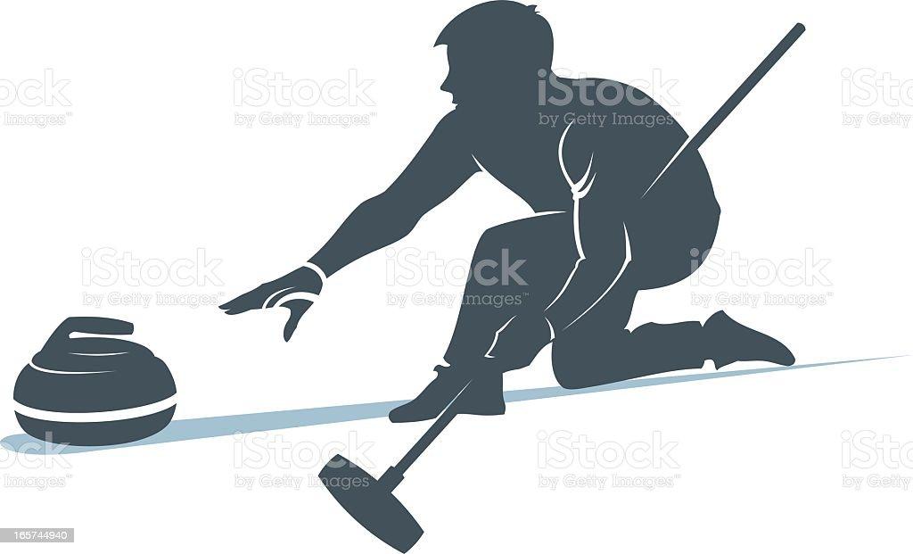 Man taking part in curling sport vector art illustration