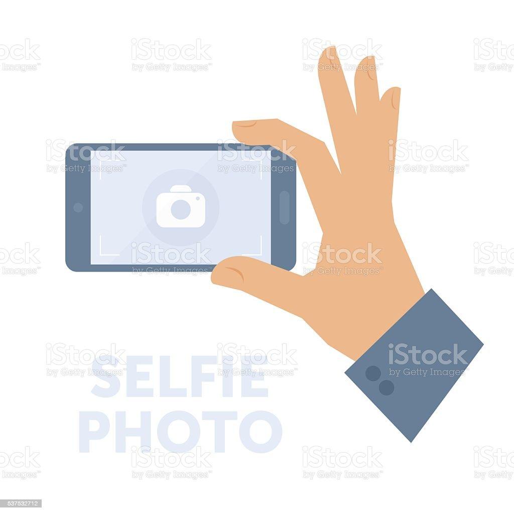Man taking selfie photo on smart phone. Flat vector illustration. vector art illustration