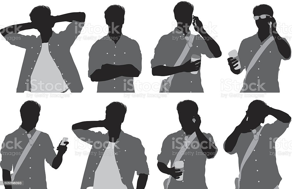 Man talking on mobile phone and holding coffee cup vector art illustration