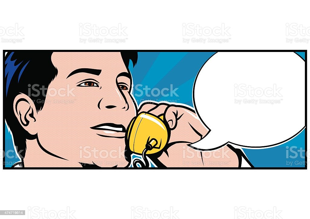 Man talking on Telephone vector art illustration