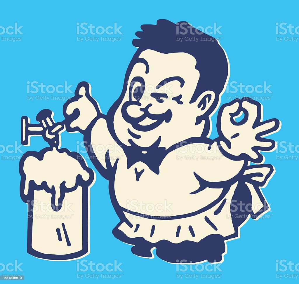 Man Tapping Beer and Winking vector art illustration