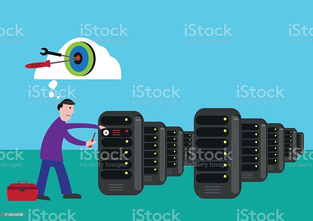 Man Targets to Fix a Broken Computer Server vector art illustration