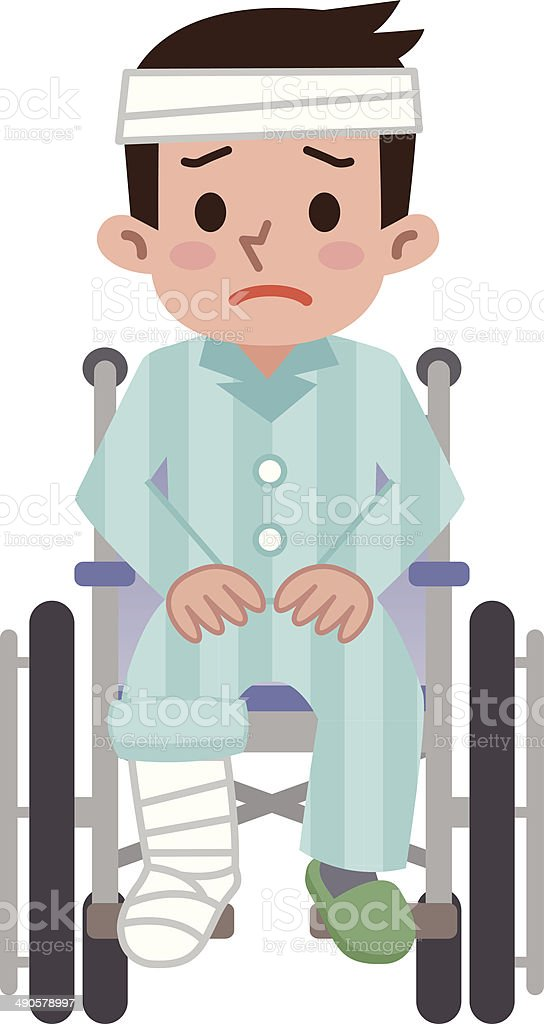 Man that was hurt is sitting in a wheelchair royalty-free stock vector art