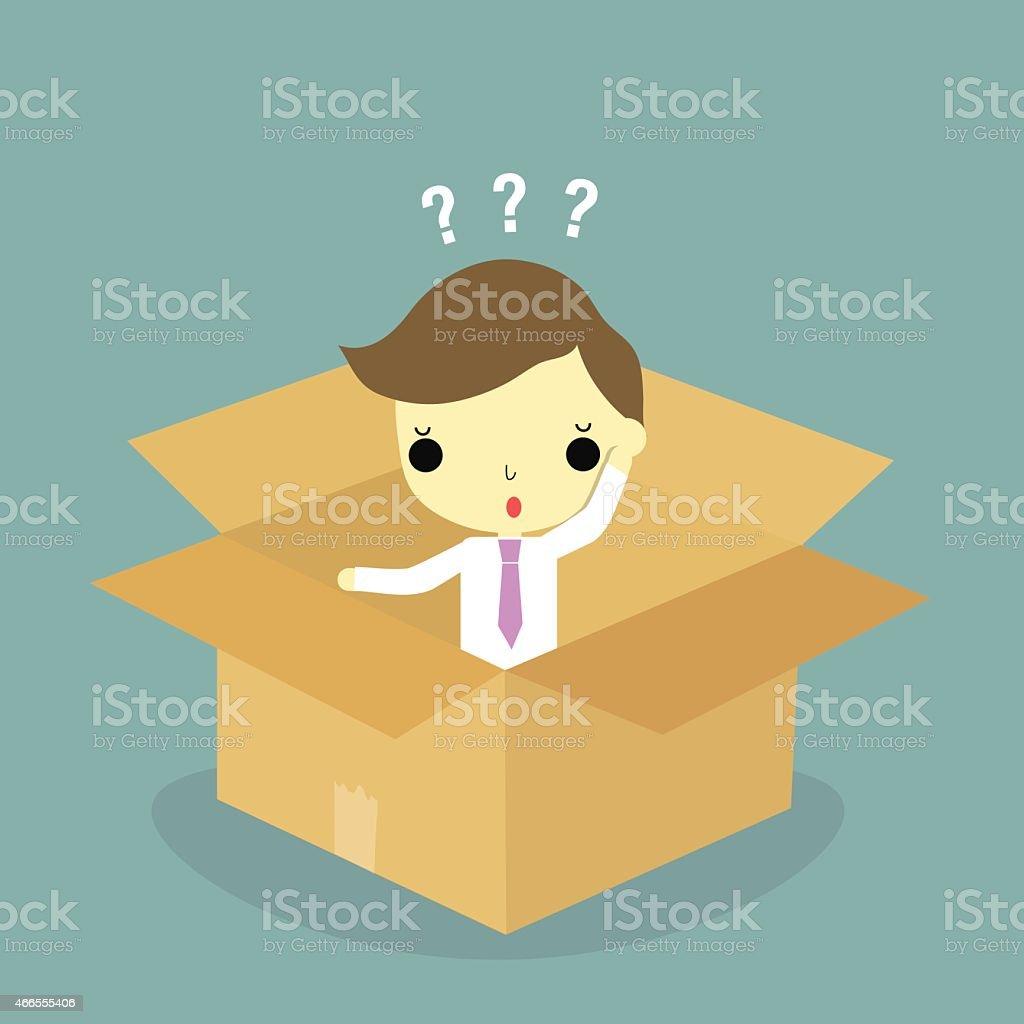 man think inside the box vector art illustration