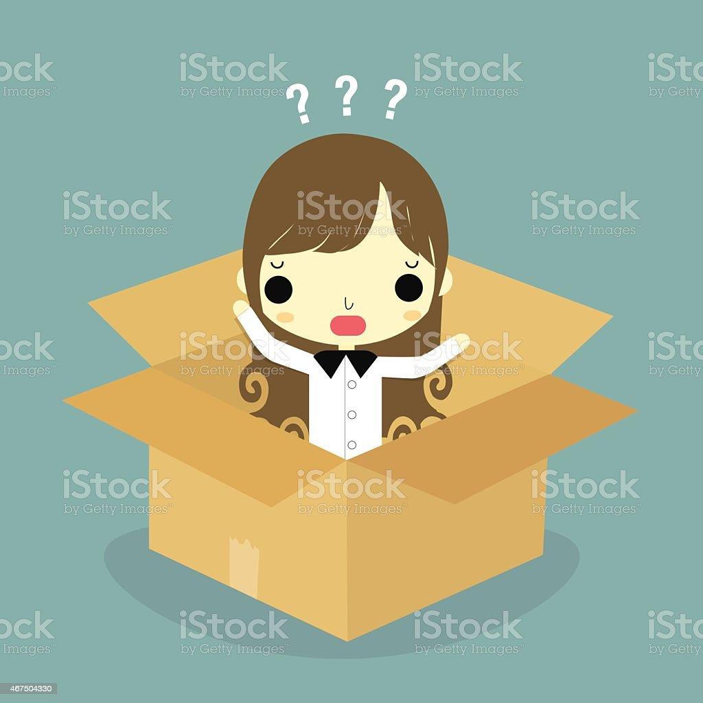 man think inside the box woman version vector art illustration