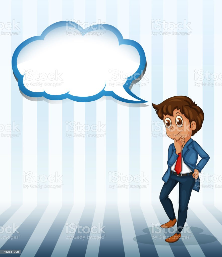 man thinking with an empty callout royalty-free stock vector art