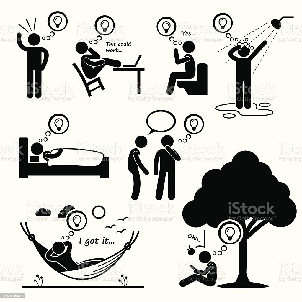 Man Thought of New Idea Stick Figure Pictogram Icons vector art illustration