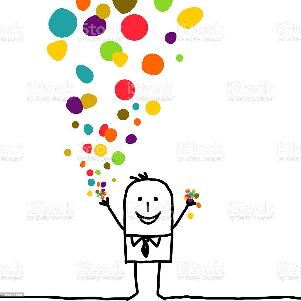 man throwing color confetti vector art illustration