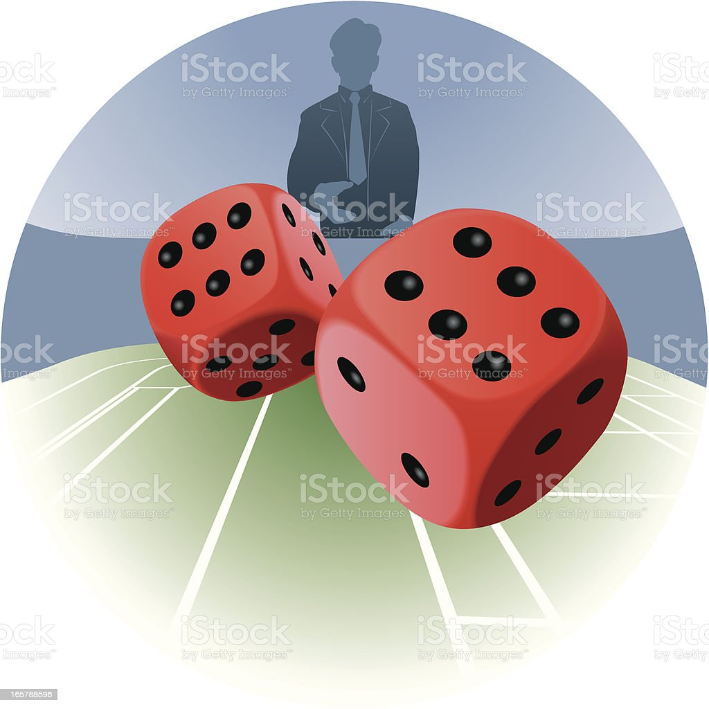 Man throwing dice vector art illustration