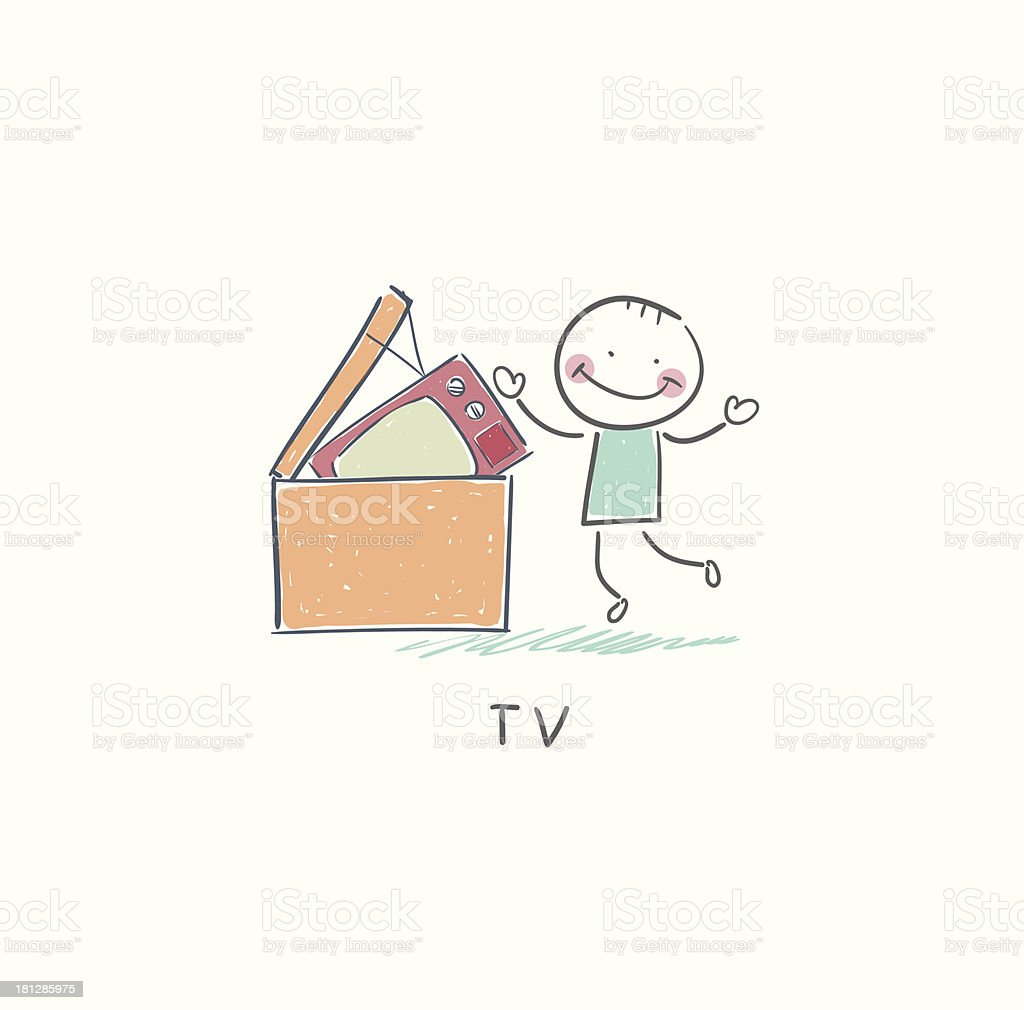 Man throws garbage on TV royalty-free stock vector art