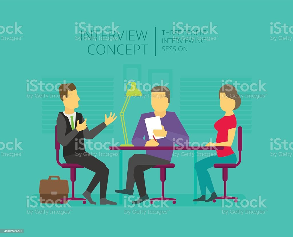 Man to give, grant an interview. Chat show. Personal interviewer vector art illustration