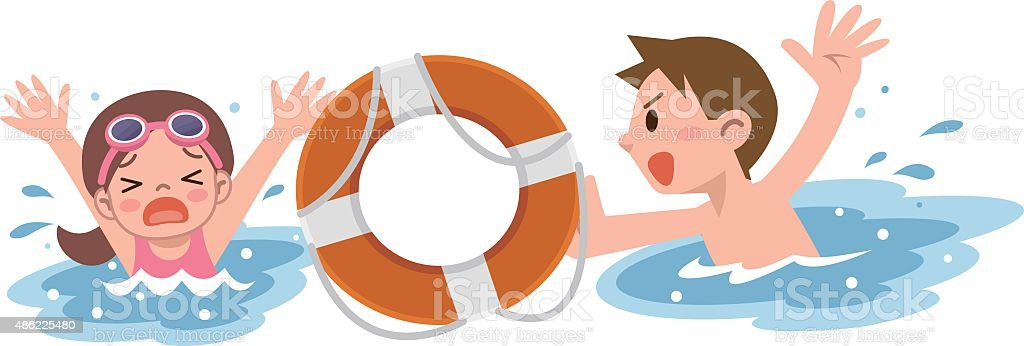 Man to rescue the girl drown vector art illustration