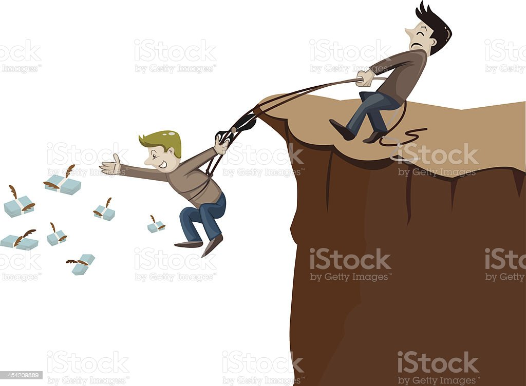 man try to catch money on the hill royalty-free stock vector art