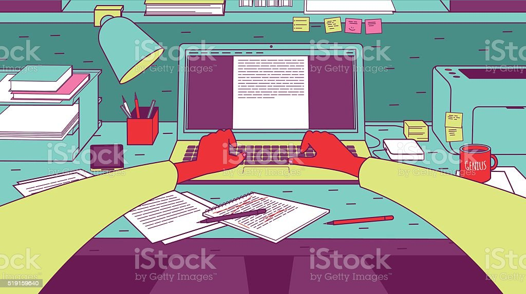 Man typing on laptop. vector art illustration