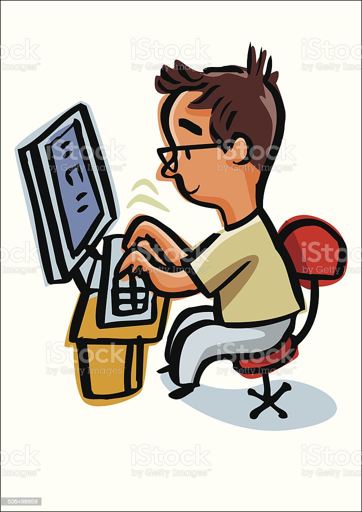 Man typing on your computer keyboard. vector art illustration