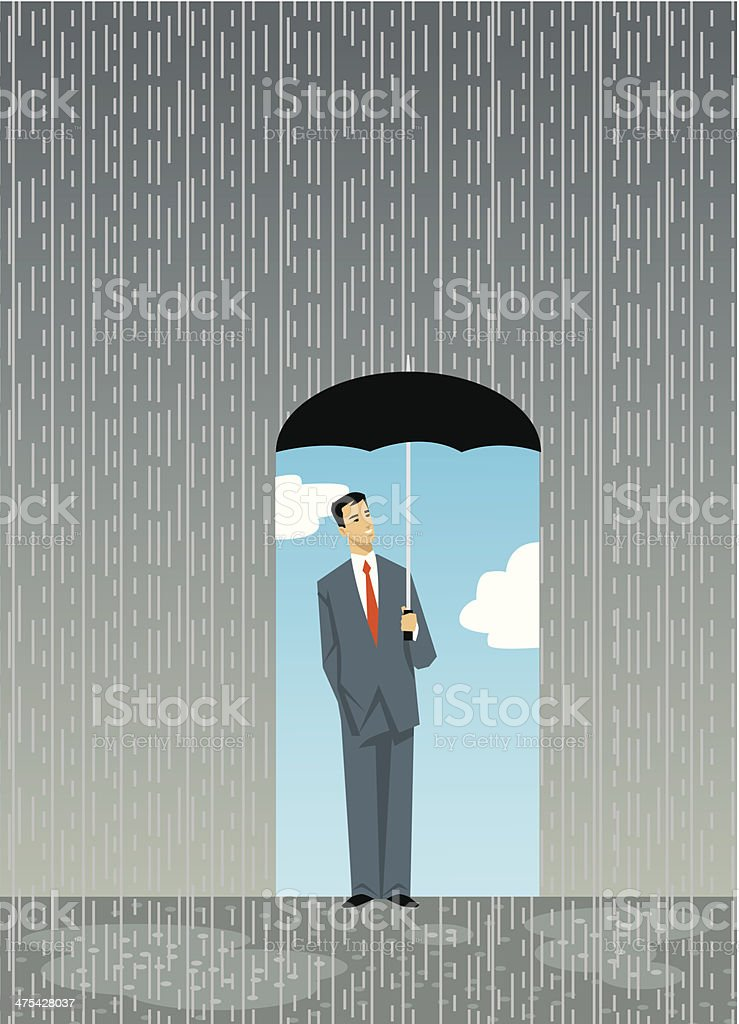 Man Umbrella C vector art illustration