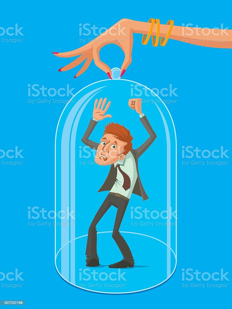 Man under protective dome vector art illustration
