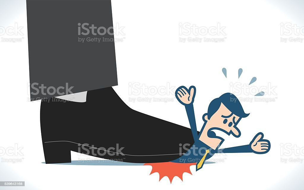 Man under the giant foot vector art illustration