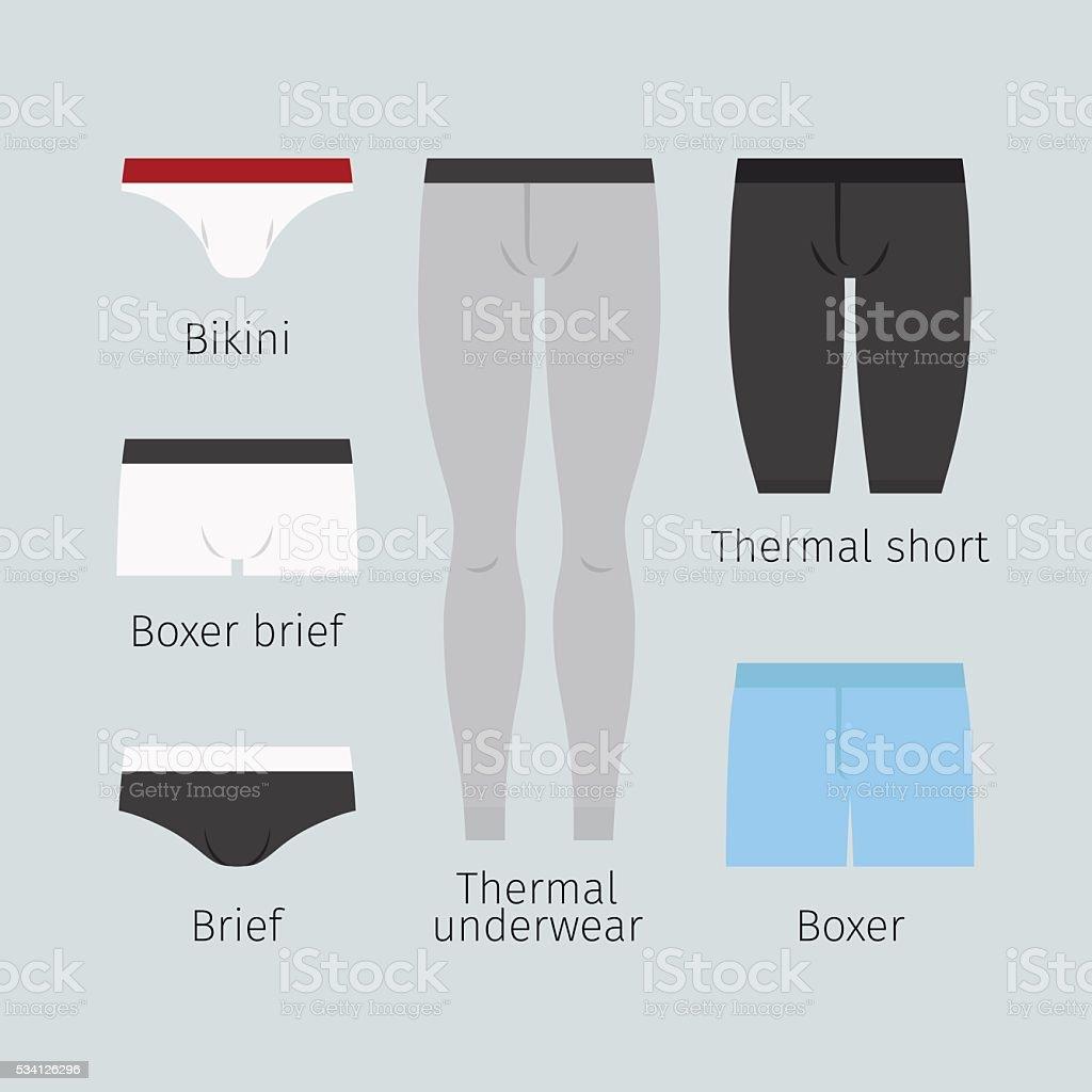 Man underwear vector icons vector art illustration