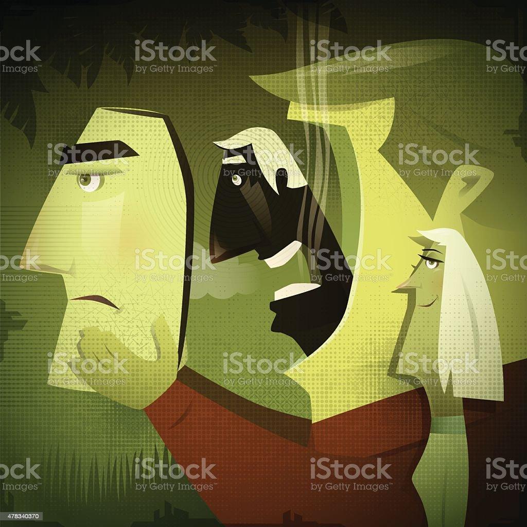 man unmasking vector art illustration