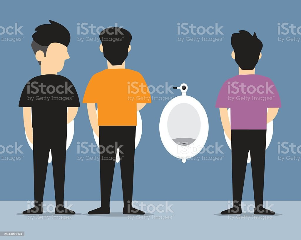 man urinating  vector flat design. vector art illustration